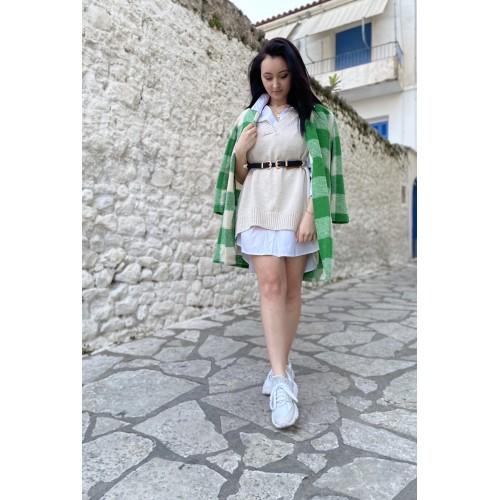 Γυναικεία μπλούζα καζάκα μπεζ 23351BE