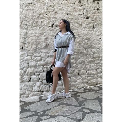 Γυναικεία μπλούζα καζάκα γκρι 23351GR