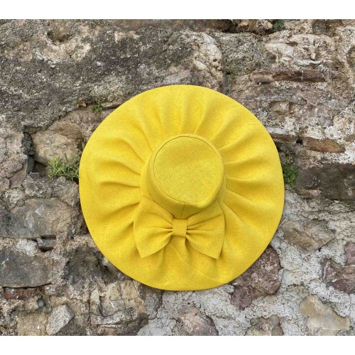 Γυναικείο ψάθινο καπέλο κίτρινο 57